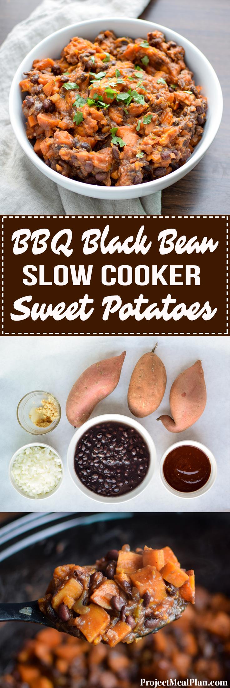 BBQ Black Bean Slow Cooker Sweet Potatoes - Black beans, sweet potatoes, and spicy BBQ sauce. A match made in side dish heaven! - ProjectMealPlan.com