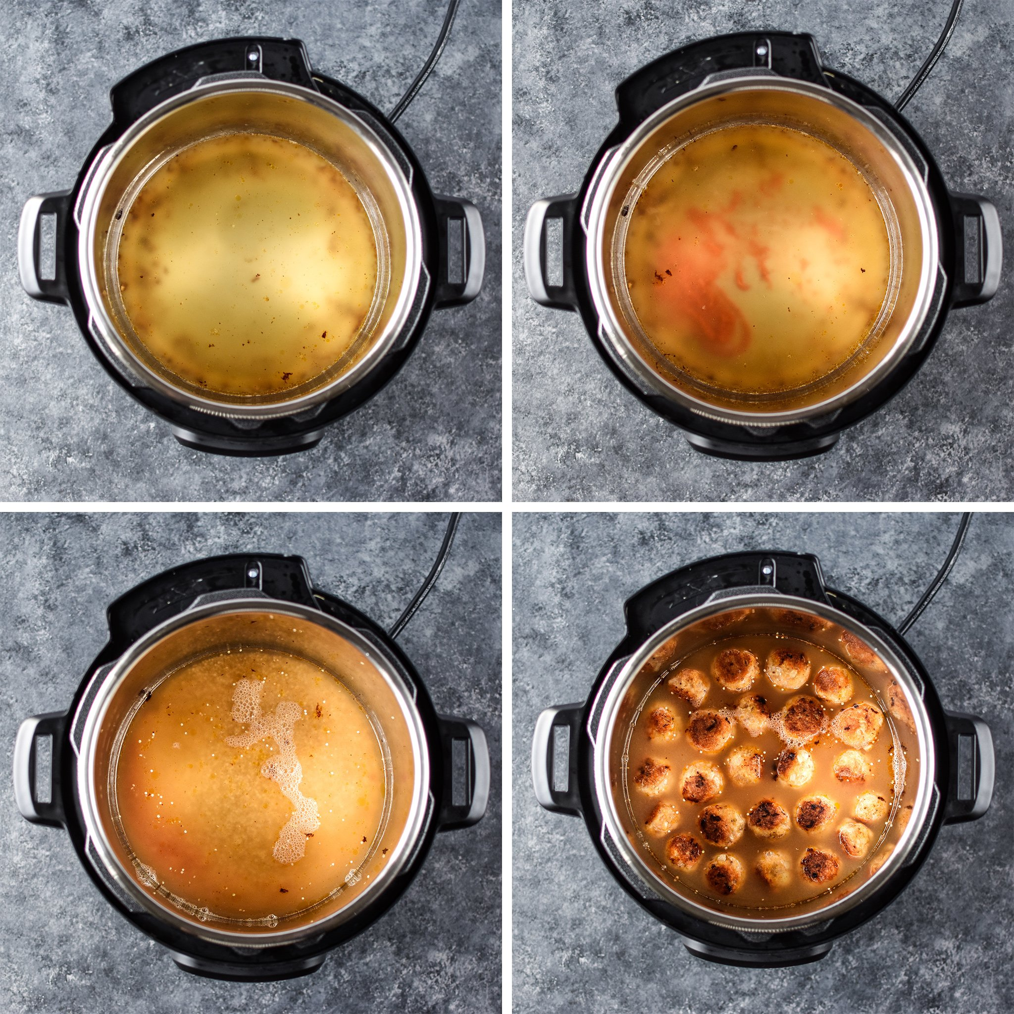 Four images of the Instant Pot from above, adding chicken broth, buffalo sauce, quinoa and browned meatballs.