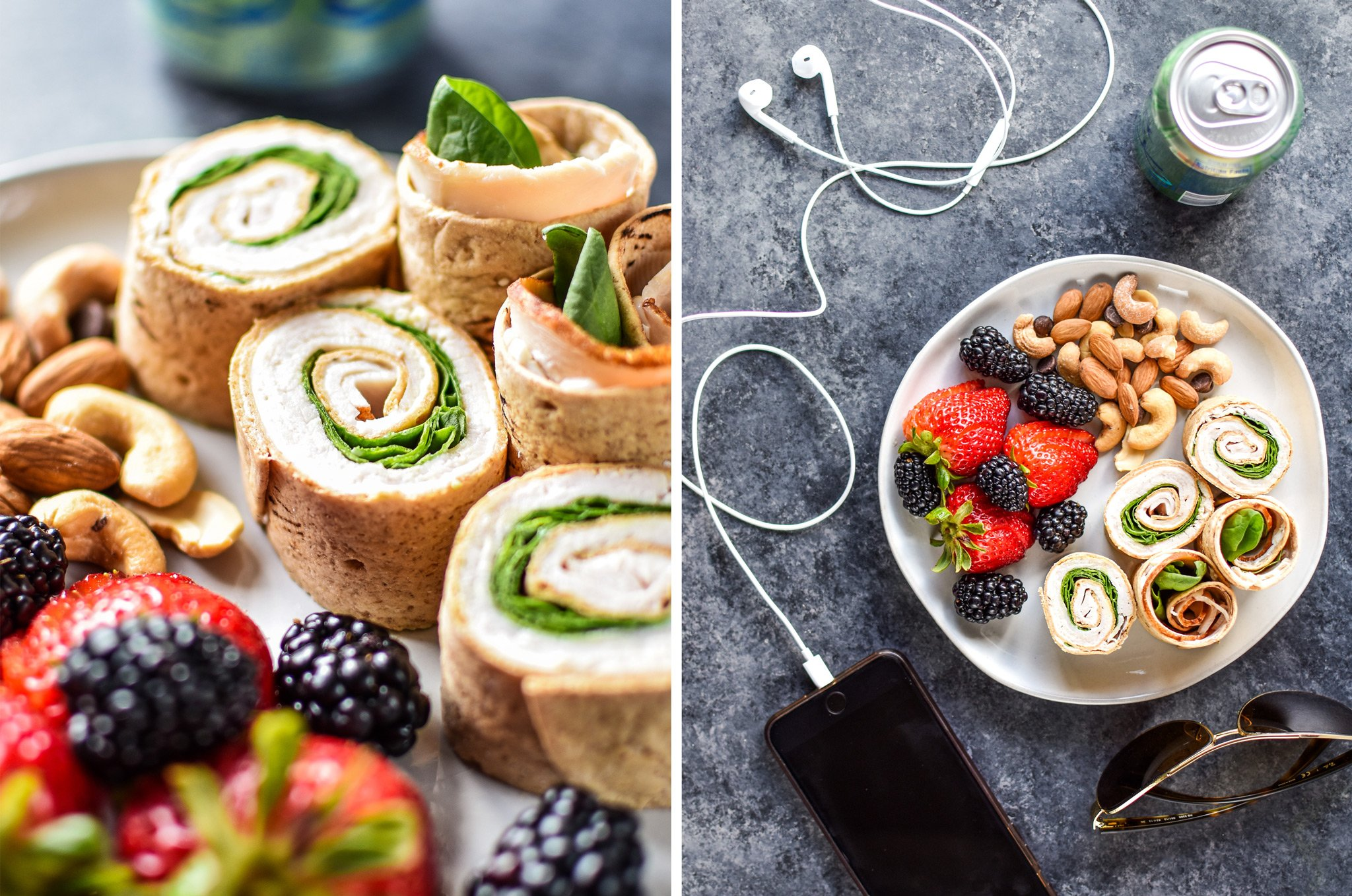 Left: Turkey pinwheels on a place with berries and nuts. Right: Top view of a lunch plate of pinwheels, nuts and fruit with a La Croix and iPhone music (summer vibes).