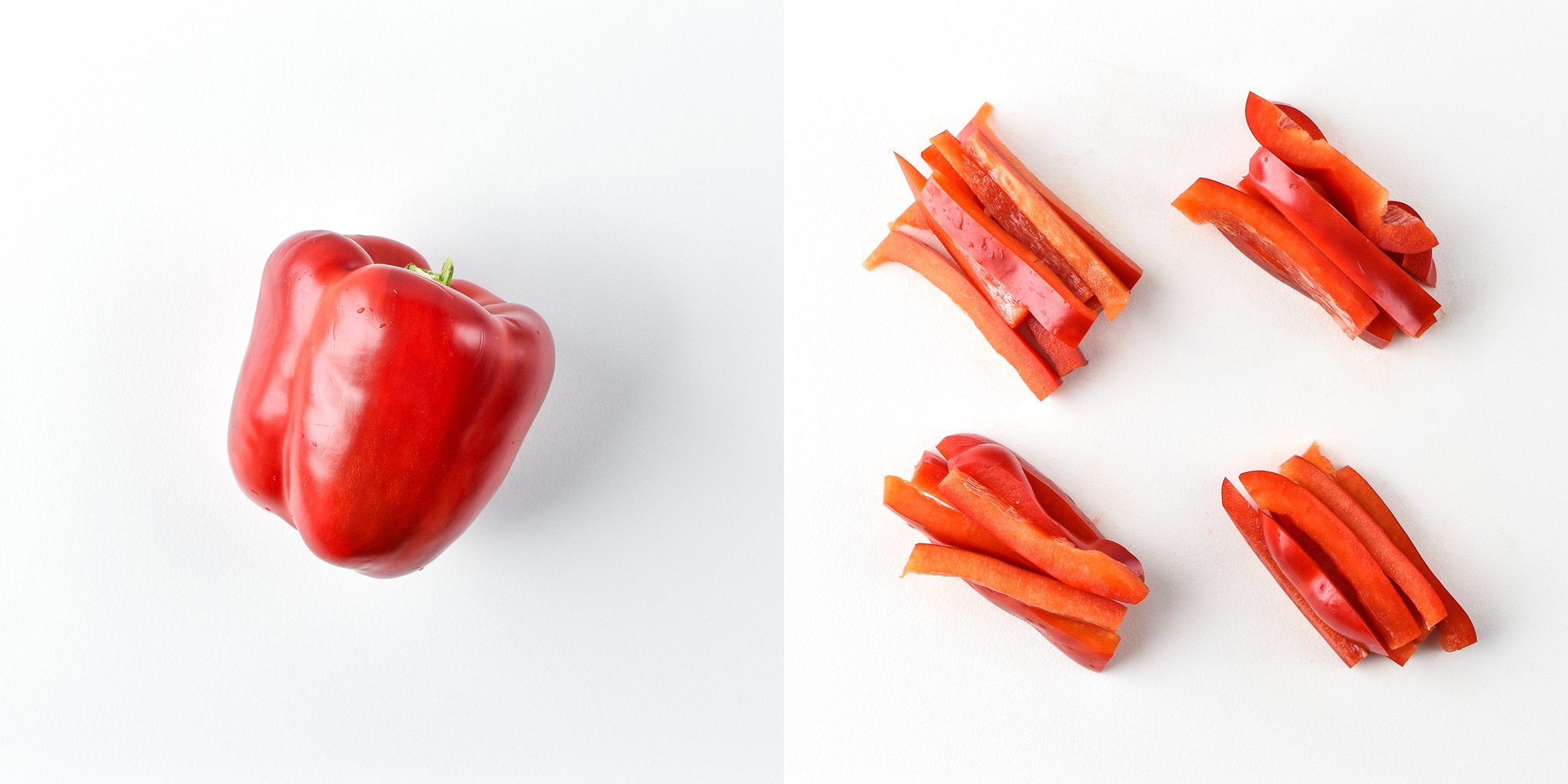 Red bell pepper before and after portioning for the Chicken & Hummus Plate Lunch Meal prep