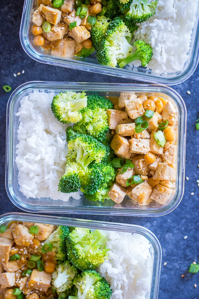 Orange Tofu Chickpea bowls - one of the Meal Prep Lunch Recipes