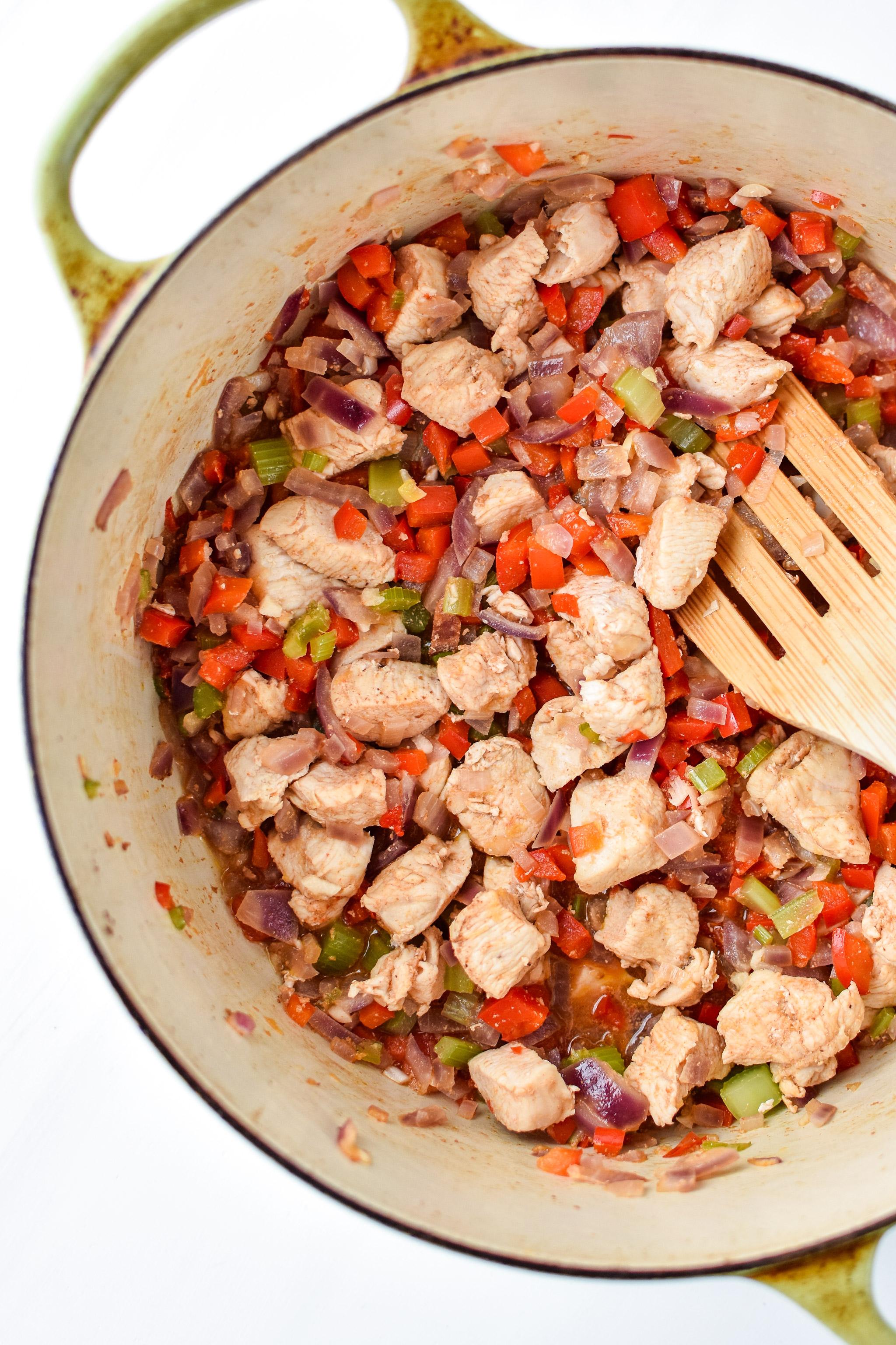 Chicken & veggie mixture for the Whole30 Chicken Bacon Ranch Casserole