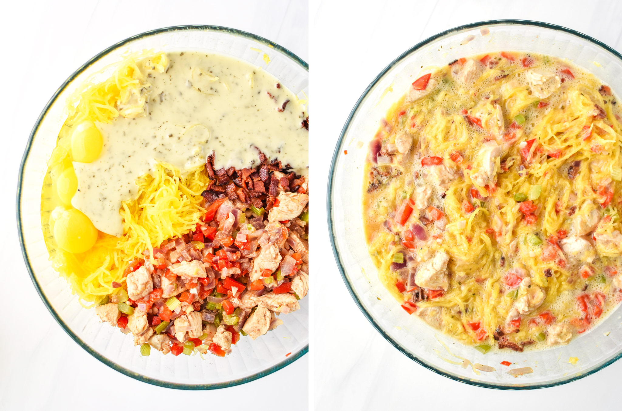 Left: Ingredients unstired for the Whole30 Chicken Bacon Ranch Casserole. Right: All the ingredients stirred together.