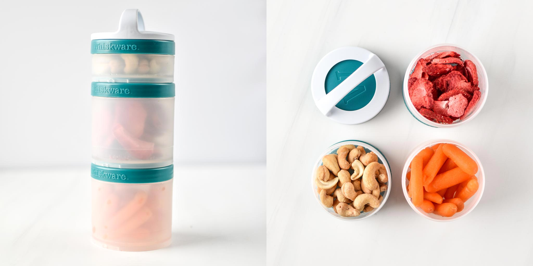 snacks in a whiskware snack container.