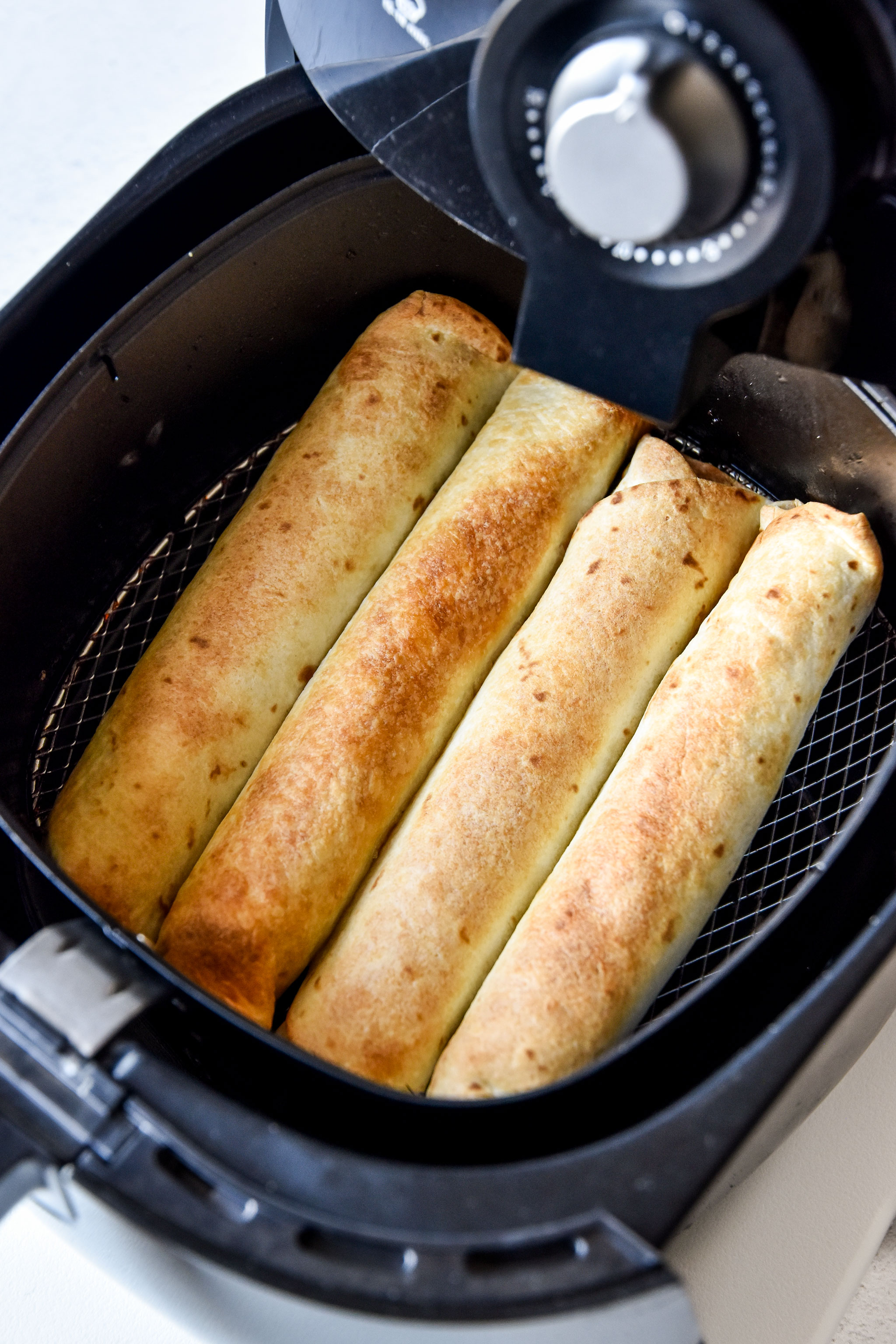 air fryer chicken taquitos or flautas made in the air fryer
