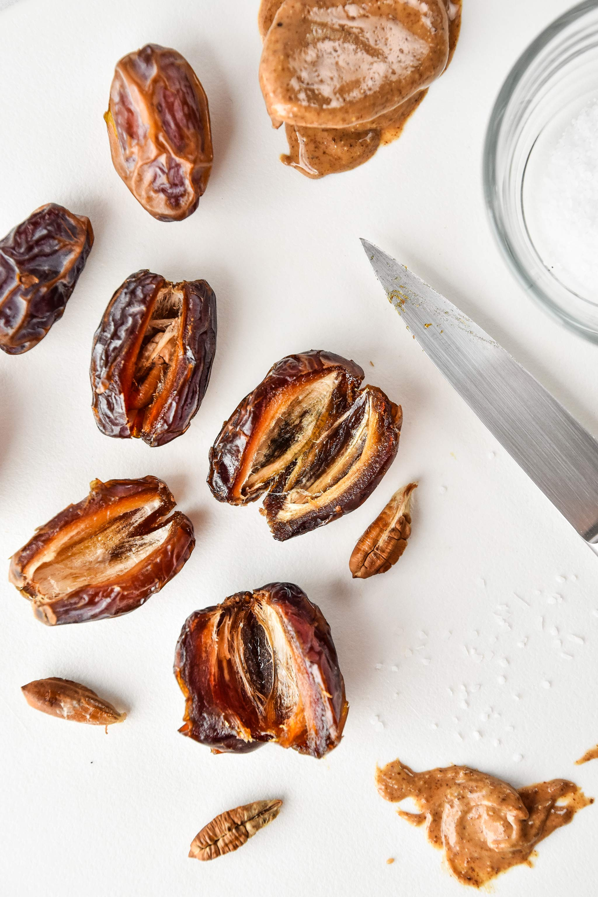 medjool dates with the pits removed ready to be stuffed with almond butter