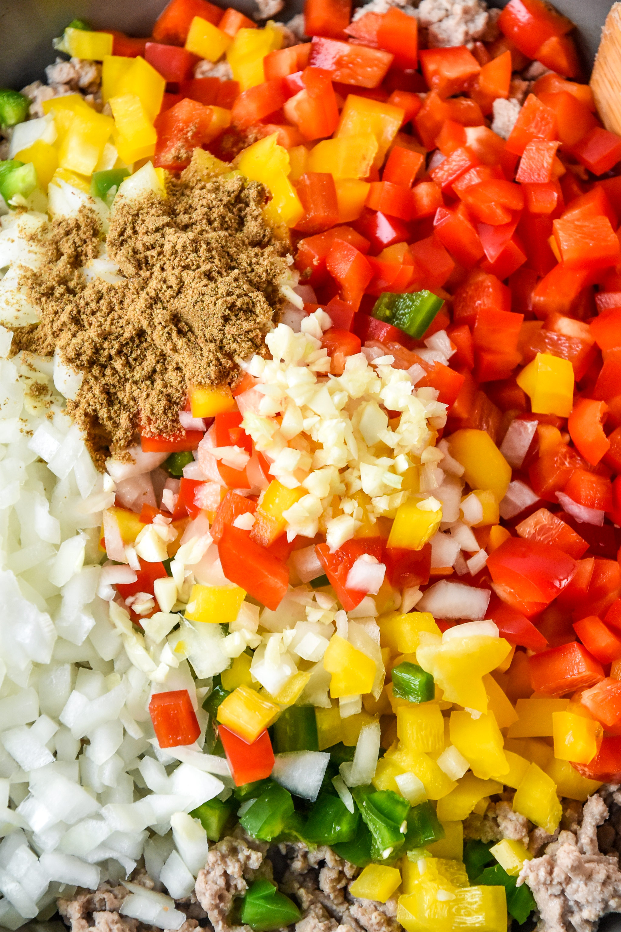 cooking ingredients for the chipotle ground turkey skillet meal prep