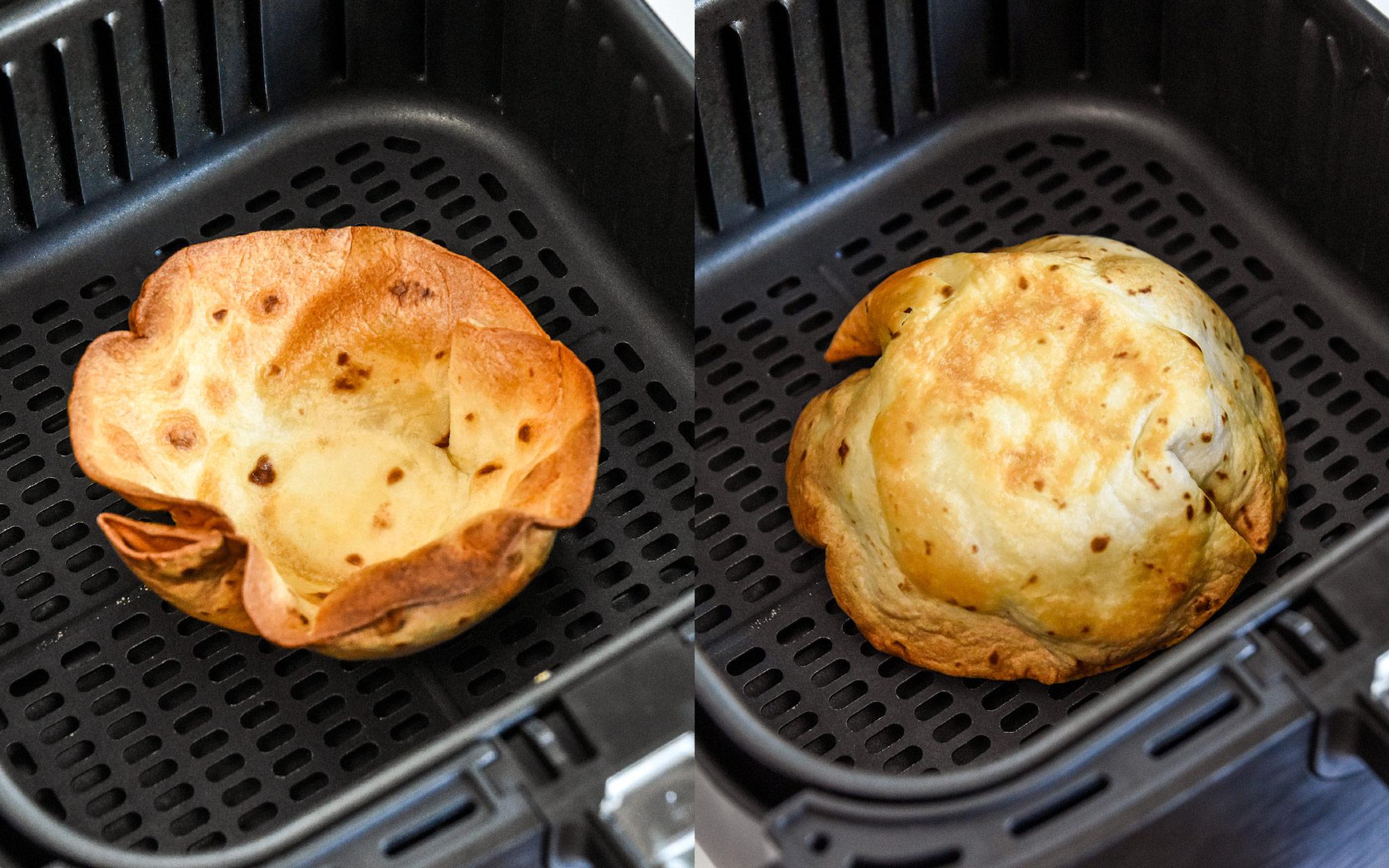 final steps of browning an air fryer flour tortilla bowl